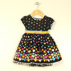 Youngland Girls 2T Heart Print Dress Tulle Hem New
